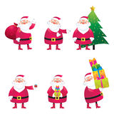 Santa. Claus in various poses and movement Stock Photos