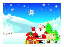 Santa. And Snowmen with gifts in a winter wonderland Royalty Free Stock Images