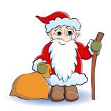 Santa. With a bag and a staff Stock Photo