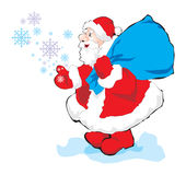 Santa. Red present blue snowflake Royalty Free Stock Photography