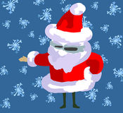 Santa,. Santa on snowing blue background Stock Images