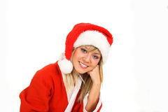 Santa. Young girl in Santa Claus Dress. Smiling Royalty Free Stock Photo
