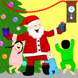 Santa. Came to the children at home Royalty Free Stock Photos
