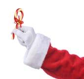 Santa με τον ντεμοντέ κάλαμο καραμελών Στοκ Φωτογραφία