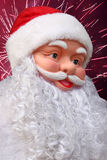 Santa. Claus over fireworks in sky Royalty Free Stock Photo