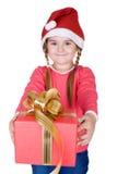 Χαριτωμένο Santa με το δώρο Στοκ Φωτογραφία