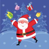 Santa. Funny Santa with gifts in  the forest Royalty Free Stock Photo