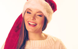 Γυναίκα στο καπέλο santa Στοκ εικόνες με δικαίωμα ελεύθερης χρήσης