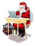Santa acquista in linea! Immagini Stock Libere da Diritti