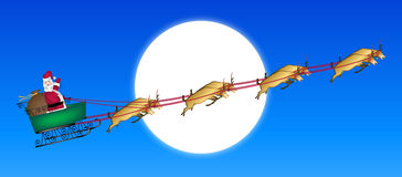 Santa Across Moon stock illustration