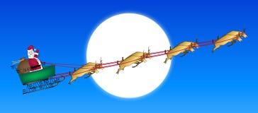 Santa Across Moon Stock Photo