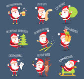 Santa Activities. Christmas Happy Holidays. Vector. Santa activities set. Christmas morning. List of gifts. Gift delivery. The Christmas tree decorate. To arrive Stock Image