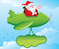 Santa in Aeroplane. Santa Claus is going to distribute gifts from aeroplane . Also having a banner attached to the plane stock illustration