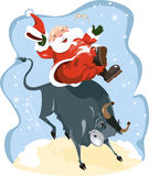 Santa affichée par dessin animé drôle sur le rodéo Image libre de droits