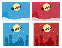 Santa against full moons Royalty Free Stock Photos