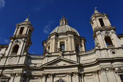 Santa Agnese Church dome and belfry. Santa Agnese church in the famous Piazza Navona, Rome Royalty Free Stock Image