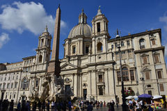 Santa Agnese Church with Fountain of Four River in Rome. Santa Agnese Church with Fountain of Four River in the famous Piazza Navona in Rome Stock Photos
