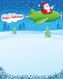 Santa in Airplane with Holiday Wishes. Santa Claus going to distribute gifts in Christmas Holidays from airplane. Also having a banner attached to the plane stock illustration