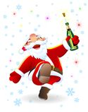 Santa alegre com uma garrafa ilustração do vetor