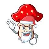 Santa amanita mushroom mascot cartoon Royalty Free Stock Images