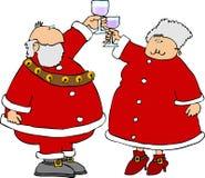 Santa & sig.ra Claus che offre un pane tostato royalty illustrazione gratis
