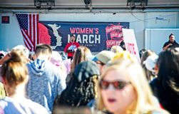 Anti-Trump messages at the 2018 Women`s March in Santa Ana. Santa Ana, California - January 20, 2018: Women holding an anti-Trump signs at the 2018 Women`s Stock Image