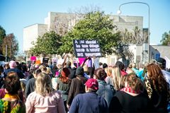 2018 Women`s March in Santa Ana, California. Santa Ana, California - January 20, 2018: Women standing up for their rights at the 2018 Women`s March in Santa Ana Royalty Free Stock Images
