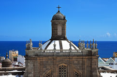 Santa Ana Cathedral dome against sea Stock Images