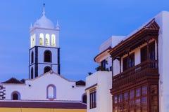 Santa Ana Church em Garachico no por do sol Fotografia de Stock