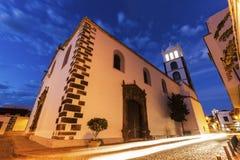 Santa Ana Church em Garachico no por do sol Imagem de Stock Royalty Free