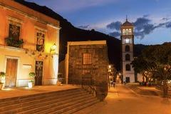 Santa Ana Church em Garachico no por do sol Imagem de Stock