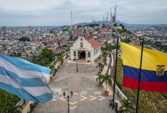 Free Santa Ana Church On Top Of Santa Ana Hill With Ecuador And City Flags - Guayaquil, Ecuador Stock Photos - 93898903