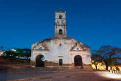 Santa Ana Church - Trinidad, Cuba. Ruins of the colonial catholic church of Santa Ana in Trinidad, Cuba at night stock photography