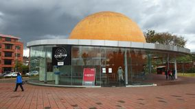View of the Municipal Planetarium located near the park of the mother stock photography