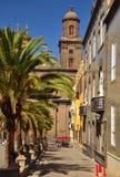 Santa Ana fyrkant och domkyrka, Las Palmas de Gran canaria, kanariefågelöar Fotografering för Bildbyråer