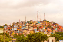 Santa Ana hill in Guayaquil, Ecuador. Guayaquil, Ecuador - April 15, 2016: Panoramic view at the cell phone towers and colorful houses of Guayaquil's Cerro stock photos