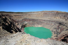 Santa Ana (Ilamatepec) volcano, El Salvador. The blue-green lake in the crater of Santa Ana (Ilamatepec) volcano, El Salvador, bubbles slowly due to the royalty free stock photography