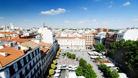 Santa Ana Plaza. Aerial view of the Santa Ana Plaza and surrounding landscape in Madrid, Spain stock image