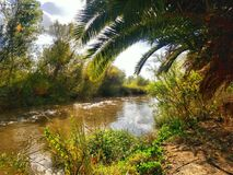Santa Ana River near the Anaheim Wetlands. This is an HDR image highlighting the scenic foliage along the Santa Ana River in Yorba Linda California stock images