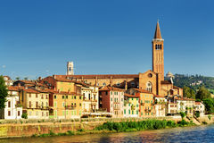 Santa Anastasia church on blue sky background in Verona, Italy Stock Photos