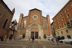 Santa Anastasia kyrka i Verona Fotografering för Bildbyråer