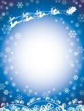 Santa And Reindeer Sleigh Blue Stock Image