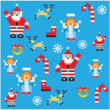 Santa and angels pixel characters christmas design pattern. Santa and angels pixel characters christmas design. Seamless pattern background illustration Royalty Free Stock Photo