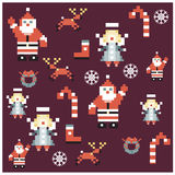 Santa and angels pixel characters christmas design. Seamless pattern background  illustration Stock Image