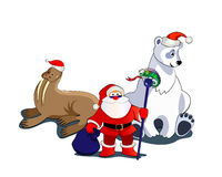 Santa and animals Stock Image