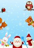 Santa with animals vector illustration