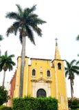 Santa Anna Cathederal en Merida Mexico avec des palmiers photographie stock