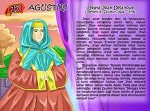 Santa  anoBeata Joan Delcalenoue dar christian idea page. Santo santa Christian concept table calendar and storybook christian children Royalty Free Stock Photos