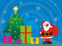 Santa, arbre, cadeaux Images stock