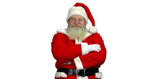 Santa with arms crossed isolated. stock video footage